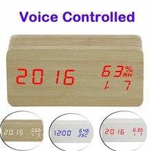 Sound Control LED Alarm Clocks Wooden Despertador Temperature Display Alarm Clock Electronic Desk Clocks Digital Wood Clock