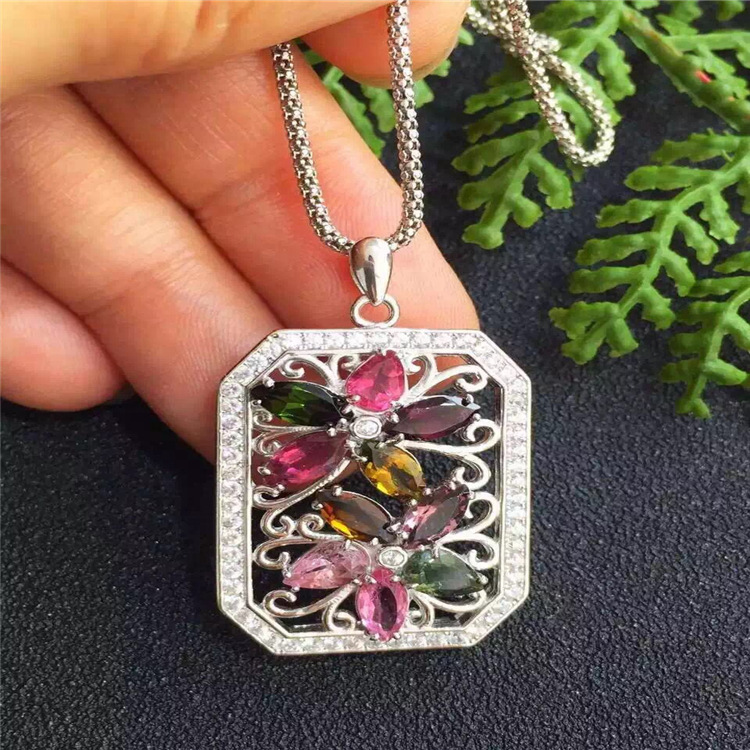 KJJEAXCMY boutique jewels S925 silver natural crystal tourmaline girl 2 plum necklace pendant set chain gift box chain.