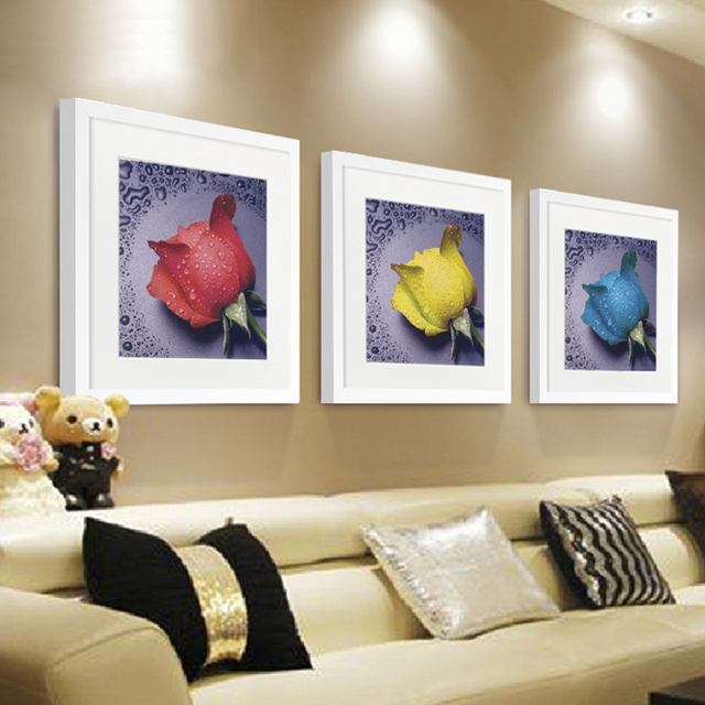 Sch Frame Mounted Mounting Black White Roses Dripping Plastic Frames Wall Art
