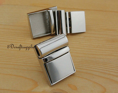 purse lock wallet Thumb latch tongue clasp silver 1 1/4 inch x 1 1/2 inch N10