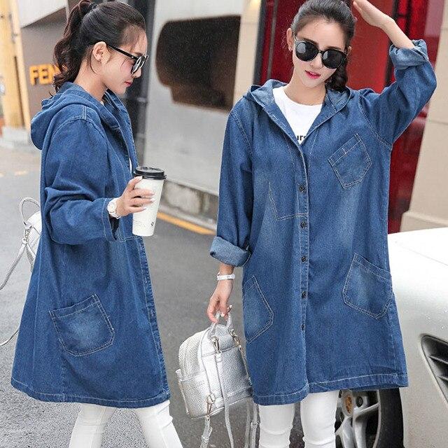 17d679fa8a4 2017 women denim jacket coat with hood 4XL Long basic coats casual loose BF  jean jackets girls streetwear plus size