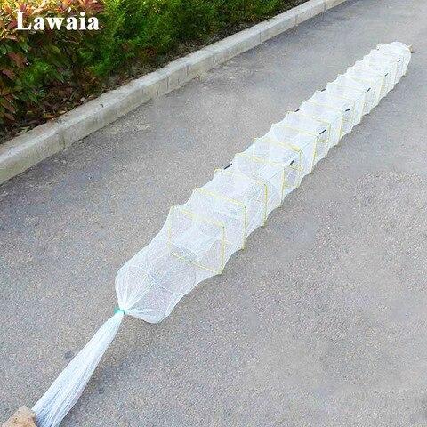 lawaia gaiolas branco dobravel lagosta camarao armadilha de malha pequena rede de pesca redes de
