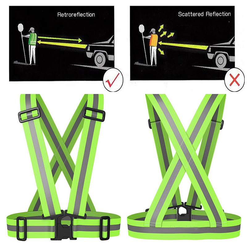 Reflective Safety Vest Belt High Visibility Reflective Elasticated Strip Blue Red Fluorescent Orange Lime Green  Waistcoat Belt