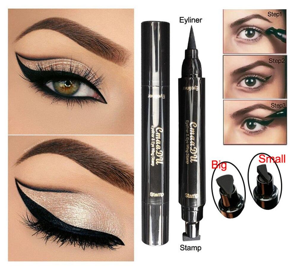 Cmaa Du Olhos Delineador Líquido Make Up Lápis Preto Double-ended Selos À Prova D' Água Delineador Lápis de Olho Maquiagem Cosméticos Ferramenta