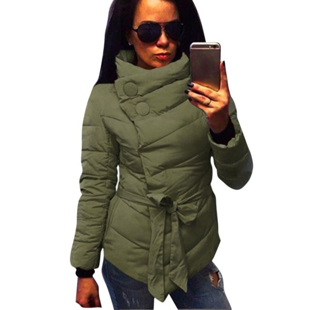 3 Colors Winter Coat Women Cotton Down Jacket High Collar With Belt Parkas For Women Winter Warm Outerwear Coats