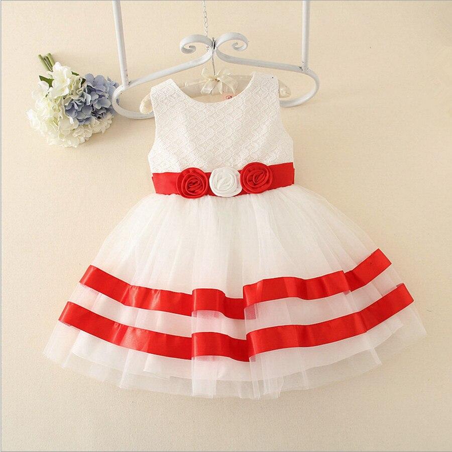 ФОТО 2016 kids girl princess sleevelss tutu dress Flower Girls Party Wedding Dresses Color Strip Embroidered Children Clothes 3-7T
