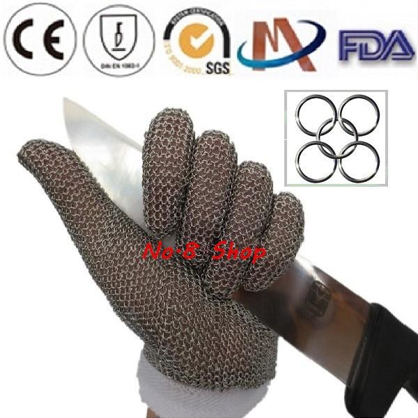 Chain Mail Protective <font><b>Glove</b></font> Safety <font><b>Glove</b></font> Cut <font><b>Resistant</b></font> <font><b>Gloves</b></font> CE Lelvels Anti Cut 5 Levels Short Ring Metal <font><b>Gloves</b></font> Hot Sale!!!