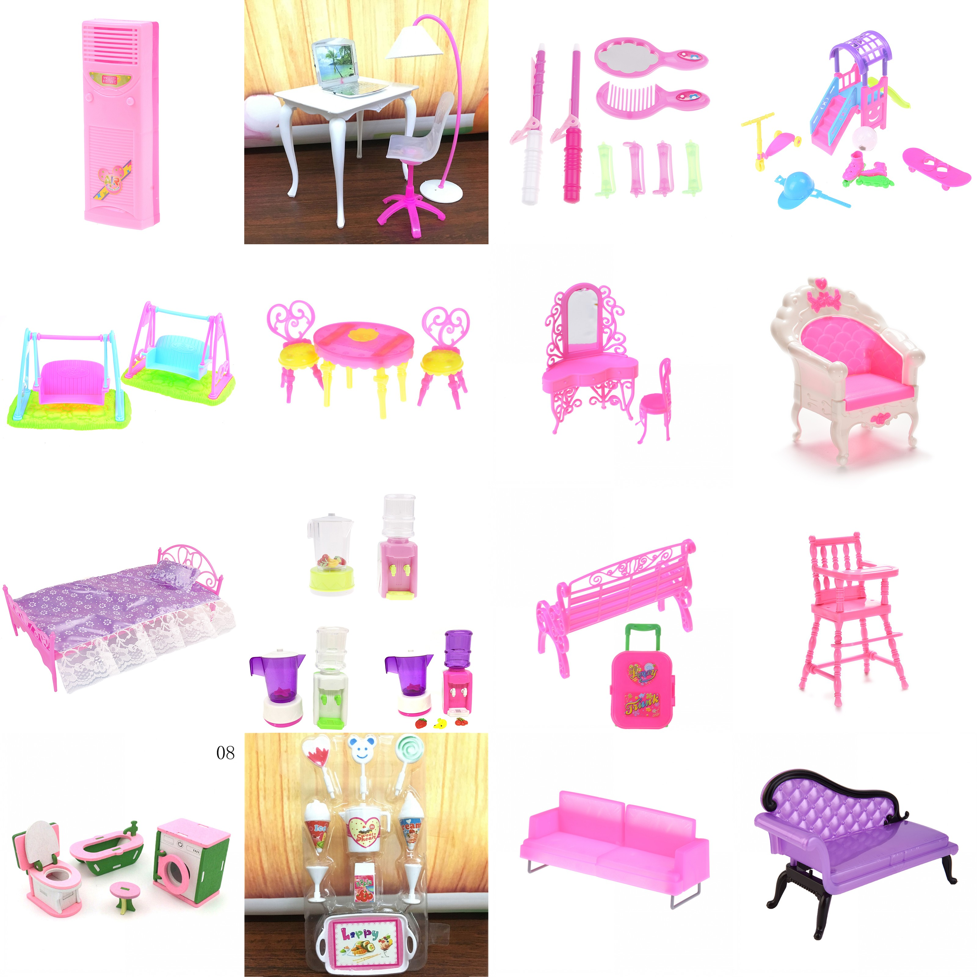 Furniture Toy Miniature House Make-up Lamp Bed Table Chair Toliet Set Tool Doll House Accessories For Dollhouse Pretend Play Toy