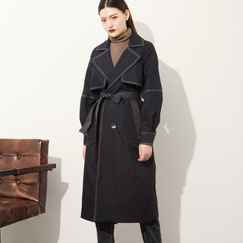 Medium and long windbreaker female temperament Commuter line with waist trim thin suit collar hundred jacket 2020
