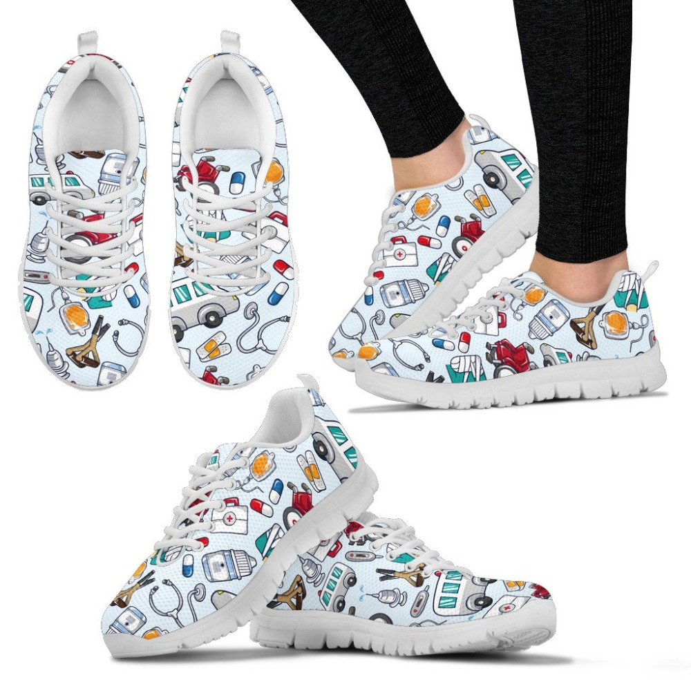 doginthehole Cute Cartoon Nurse Printing Flat Shoes Women Lace-up Sneakers Ladies Fashion Mesh Flats for Females Nursing Shoes все цены