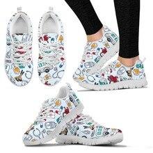 doginthehole Cute Cartoon Nurse Printing Flat Shoes Women Lace-up Sneakers Ladies Fashion Mesh Flats for Females Nursing