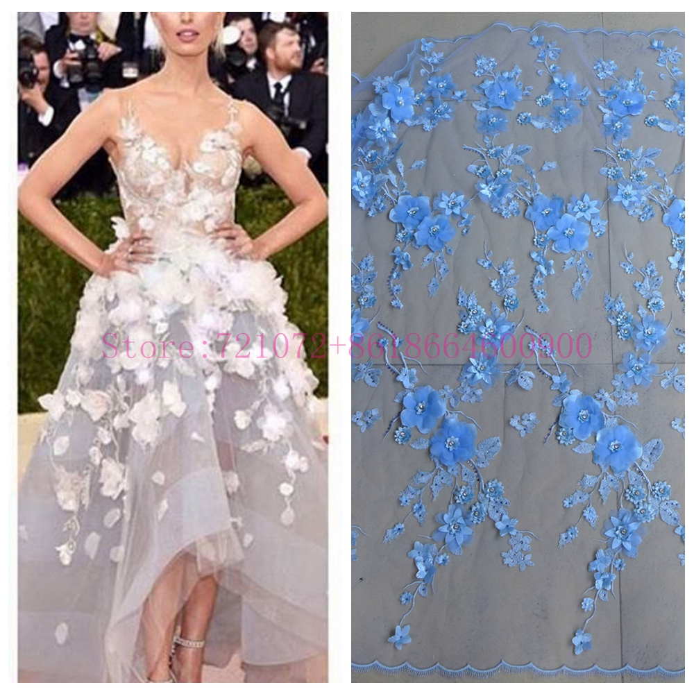 La Belleza 1 yard New fashion light blue 3D flowers Rhinestones on netting embroidered wedding evening