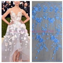 La Belleza 1 yard New fashion light blue 3D flowers Rhinestones on netting embroidered wedding/evening dress lace fabric 1 yard