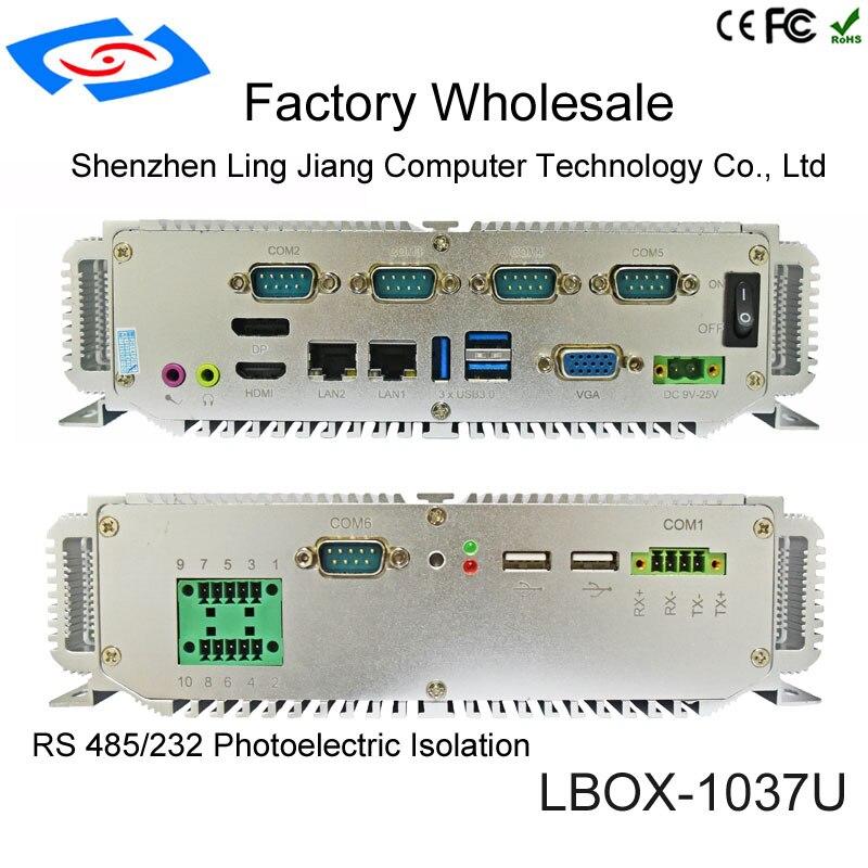 Fanless Barebone Mini PC Intel Core I5-3337U Windows 10 Rugged ITX Case Embedded Industrial Computer 2 LAN HDMI 6 COM Nettop