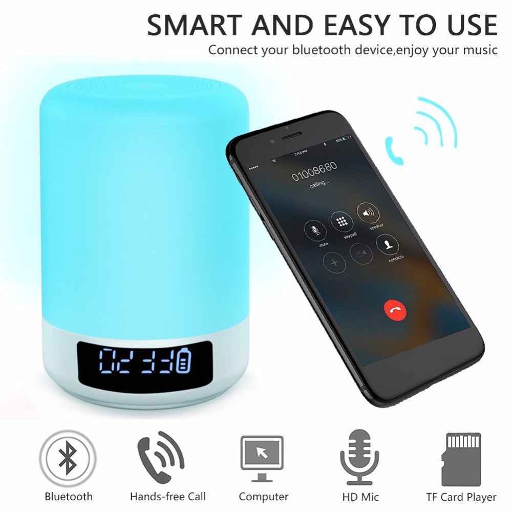 Image 3 - Night Light Bluetooth Speaker Touch Sensor RGB Dimmable Warm White Alarm Clock USB AUX MP3 Player for Kids Party Sleep As gift-in Portable Speakers from Consumer Electronics