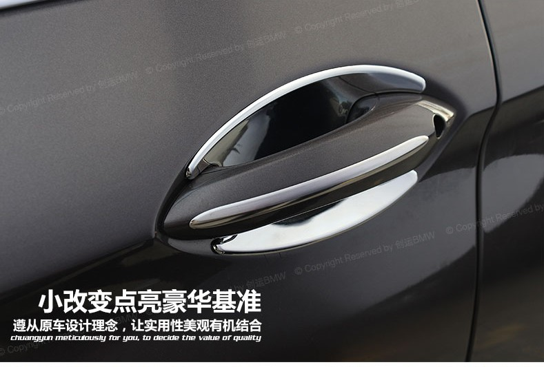 2010-2015 for BMW 7 Series F01 F02 Steel Chrome Side Door Handle Cover Trim 4pcs