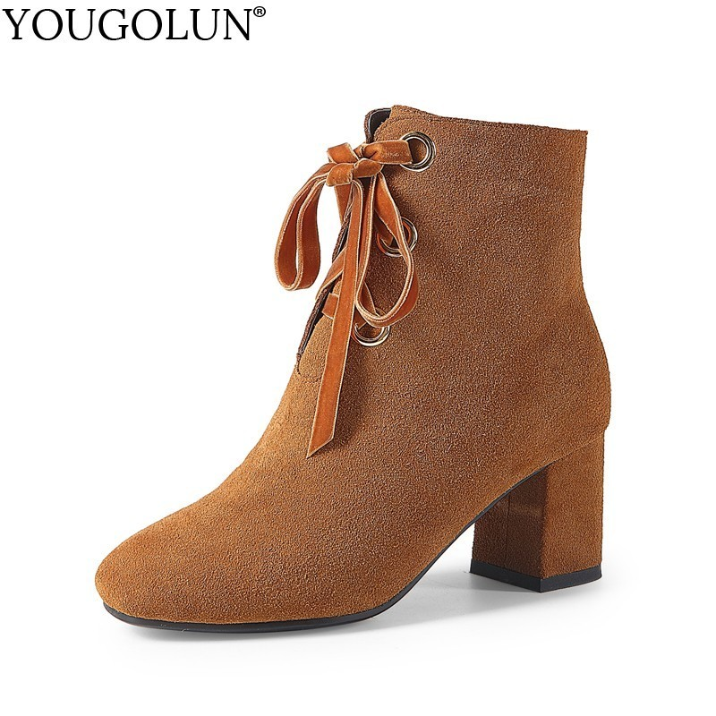 YOUGOLUN Women Ankle Boots Winter Genuine Cow Suede Thick Heel 6.5 cm High Heels Black Yellow Lace-up Square toe Shoes #Y-275 sfzb new square toe lace up genuine leather solid nude women ankle boots thick heel brand women shoes causal motorcycles boot