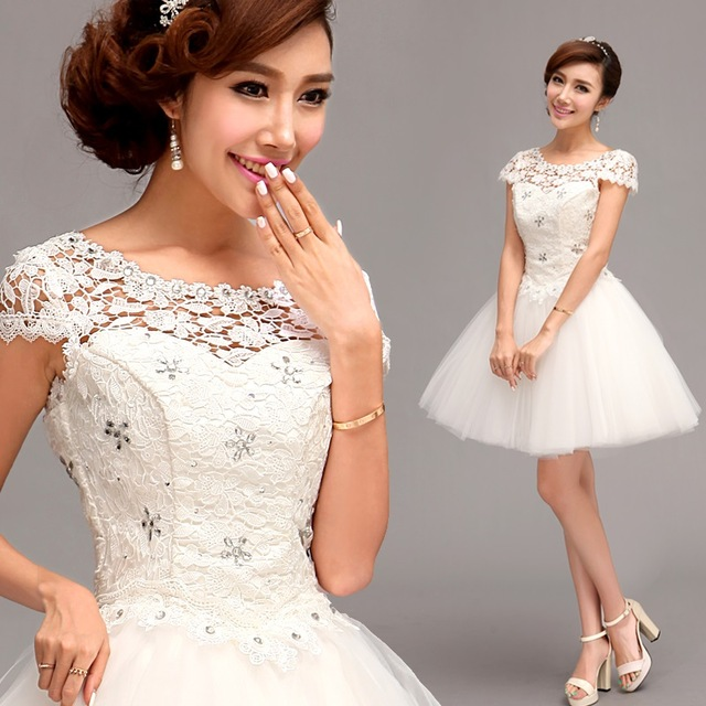 White Lace Crystal Snow Flowers Bride Gown Formal Short Tail Party Dress Prom Dresses Ball Gowns