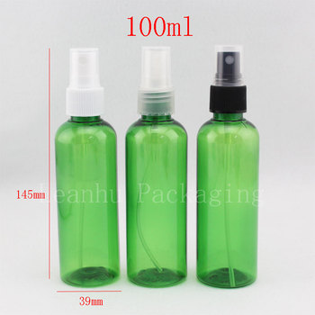 100ml X 50 empty green plastic liquid Bottle with sprayer pump , PET Cosmetic Packaging bottle ,100cc mist spray container