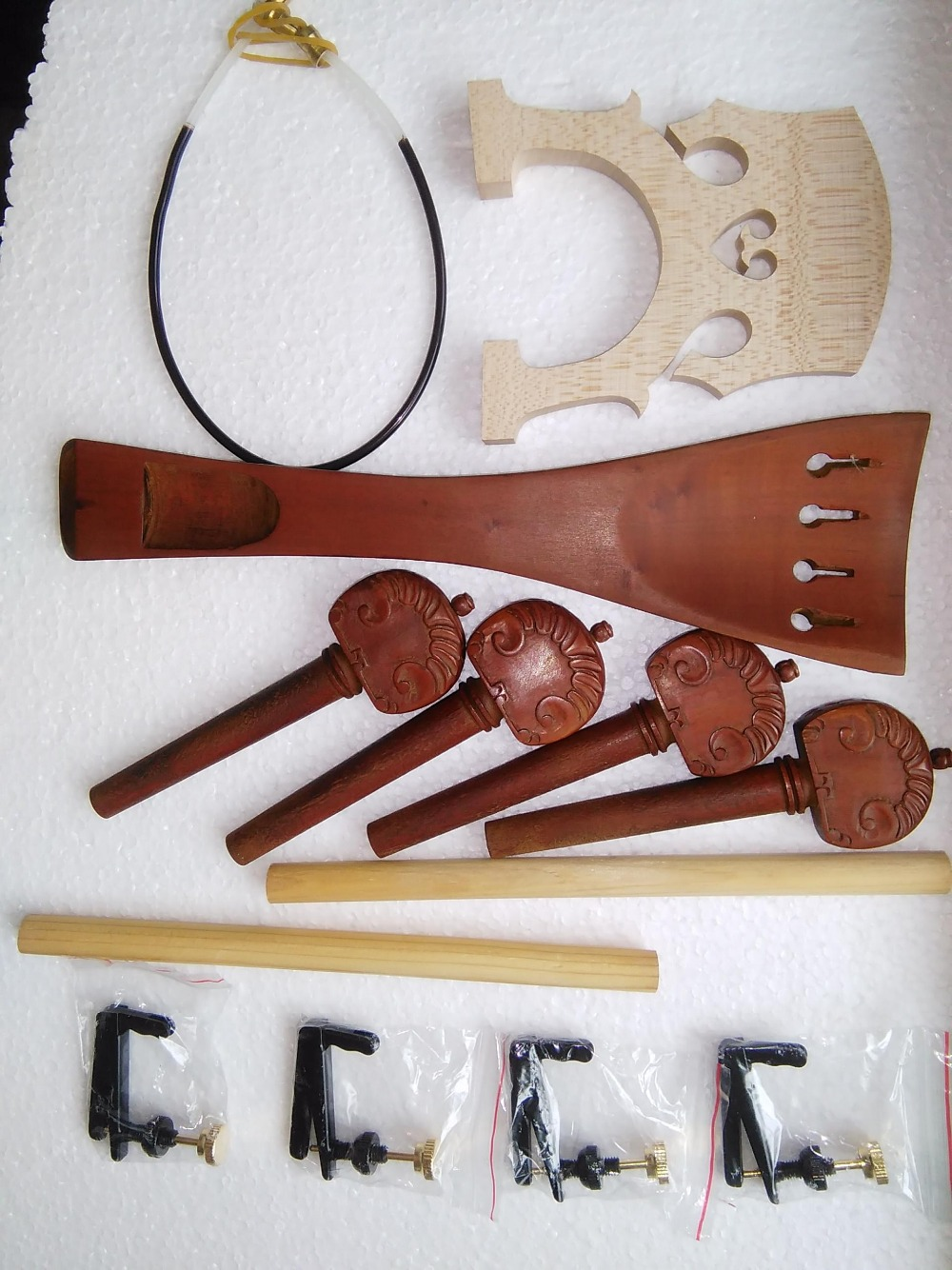 1 Set Jujube Cello parts With carved tail piece and cello pegs+fine tuner guts and sound post bridges all 4/4 3 pcs brass cello tools cello sound post setter retriever gauge luthier tool