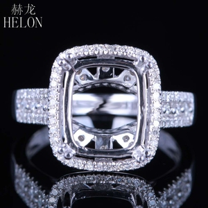 Image 1 - HELON Solid 14K White Gold 11X9MM Cushion/Emerald/Radiant Real Natural Diamonds Engagement Wedding Jewelry Semi Mount Ring
