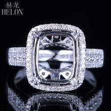HELON anillo de compromiso de oro blanco de 14 quilates con diamantes naturales, anillo semimontura, Esmeralda, 11x9mm