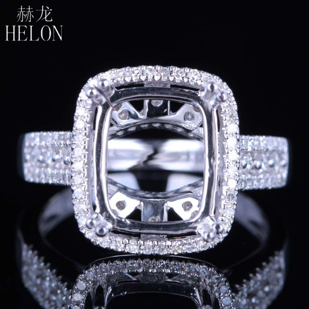 HELON solide 14K or blanc 11X9MM coussin/émeraude/radieux vrais diamants naturels fiançailles bijoux de mariage bague Semi monture