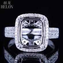 Helon Solid 14K White Gold 11X9MM Kussen/Emerald/Radiant Real Natuurlijke Diamanten Engagement Bruiloft Sieraden Semi Mount ring