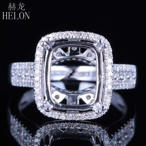 Image 1 - Helon solid 14k ouro branco 11x9mm almofada/esmeralda/radiante real natural diamantes noivado casamento jóias semi montar anel