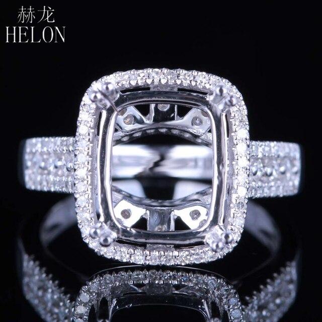 Helon solid 14k ouro branco 11x9mm almofada/esmeralda/radiante real natural diamantes noivado casamento jóias semi montar anel