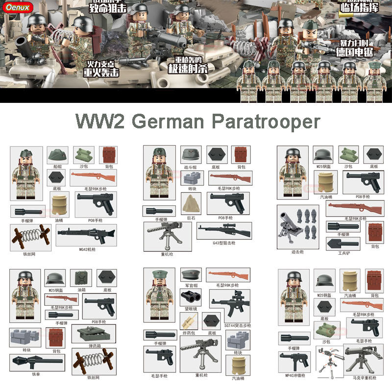 Oenux New WW2 Military Weserubung War Custom German Paratrooper Figures Building Block Military Soldier With Weapons Brick Toys new military series world war ii germany panzer iv tank building brick block toys compatible with lepin