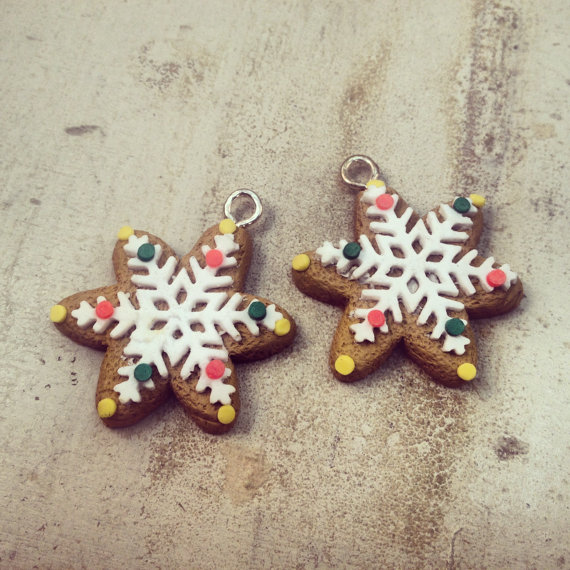 Us 10 58 20pcs 34mm Polymer Clay Gingerbread Cookie Star Cookies Hand Made Snowflake Christmas Cookie Christmas Clay Cookie Cabochon In Pendants
