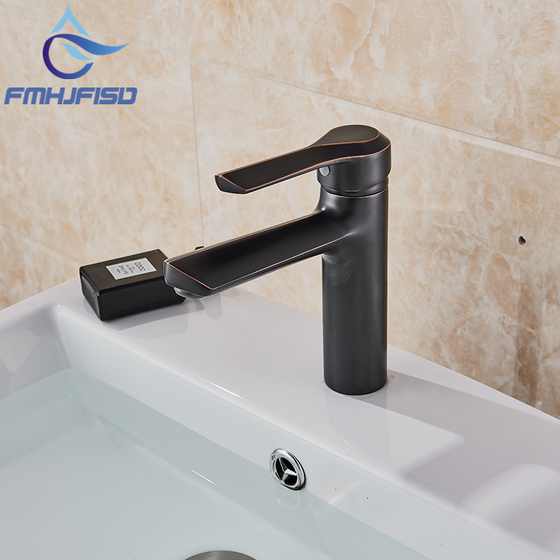 Hot Sale Basin Faucet Single Handle Oil Bubbed Bronze Mixer Cold And Hot Water Faucet Mixer Taps Sink Faucet in the production of wholesale europe type restoring ancient ways dark bronze faucet hot and cold mixer water basin faucet