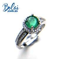 Bolaijewelry, природный Замбия Зеленый Изумрудный круглая огранка 6 мм 0.8ct Драгоценное кольцо стерлингового серебра 925 пробы ювелирных украшений