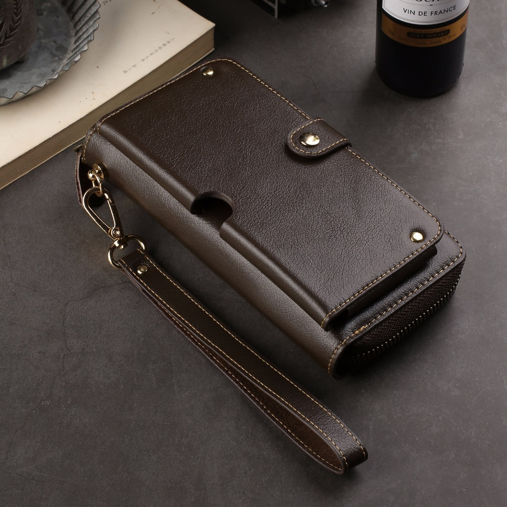 Genuine Cow Leather Wallet Finger Ring Belt Strap Mobile Phone Case Pouch For Huawei Honor Play,Mate 20 Lite,P Smart+ (nova 3i)