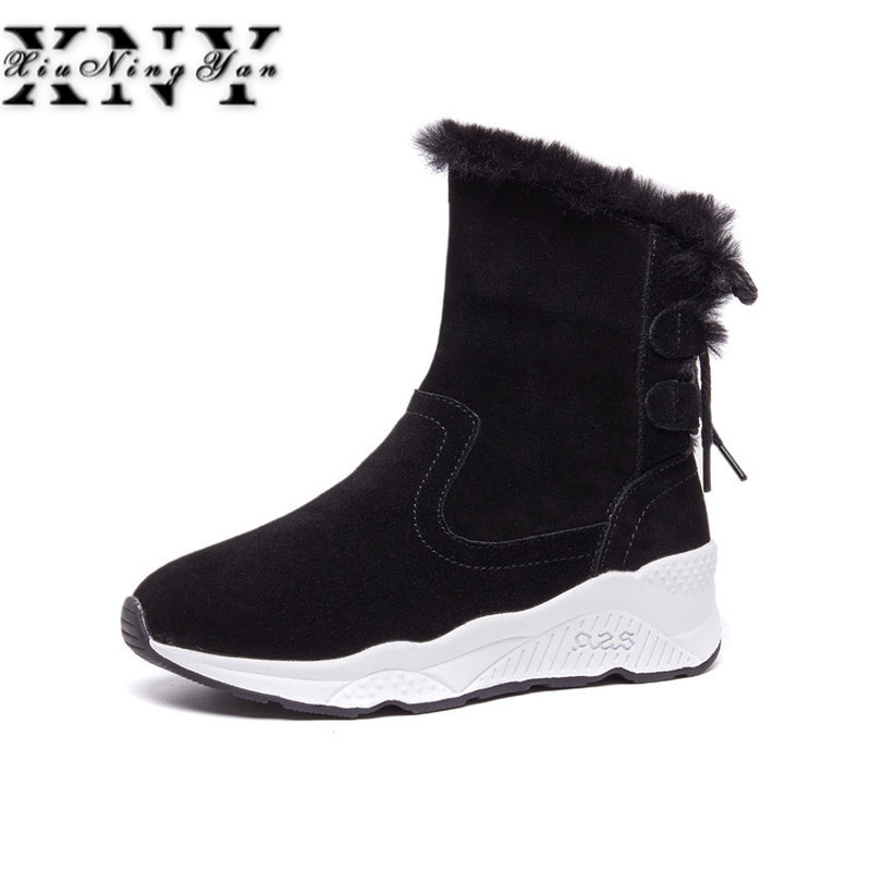 XIUNINGYAN Women Plush Warm Snow Boots Ladies Winter Ankle Boots Waterproof Suede Shoes Wedges Lace Up Non-slip Low Heel Boots women winter warm snow boots cotton shoes hidden wedges heel increased ankle snowshoes lt88