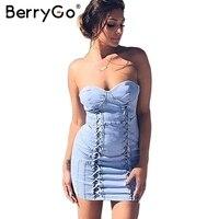 BerryGo Sexy Strapless Lace Up Denim Dress Women Pad Slim Bodycon Blue Jeans Dress Streetwear Backless