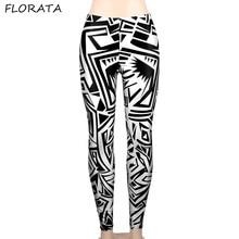 FLORATA New 2017 Women summer Leggings pants Black Milk Print Irregular triangle Digital printing Soft casual Pencil trousers