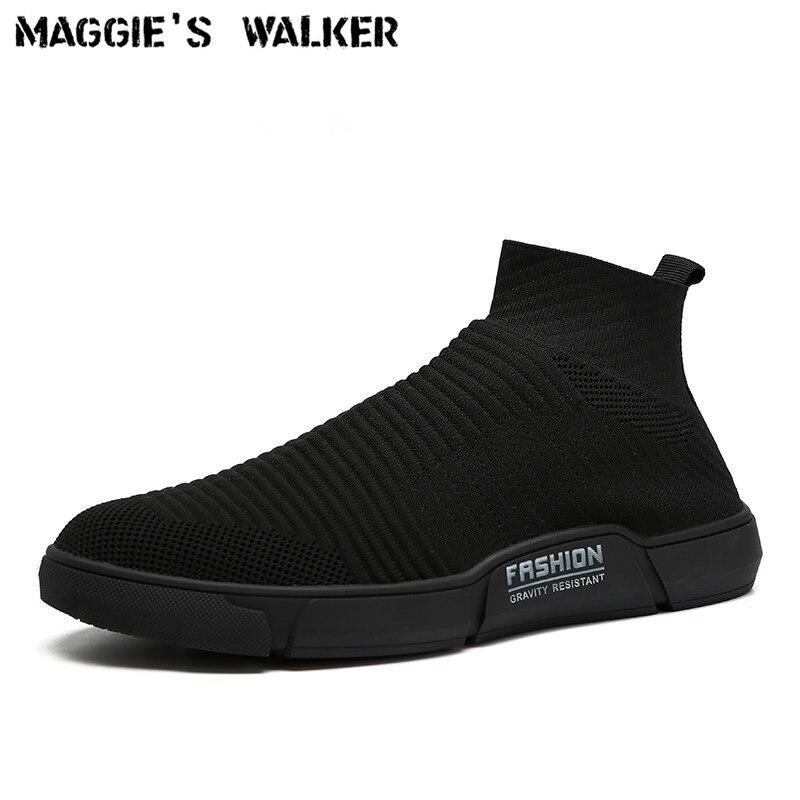 Maggie's Walker nouveauté hommes maille chaussures décontractées mode plate-forme élastique chaussures en toile tricoté respirant chaussures taille 40 ~ 44