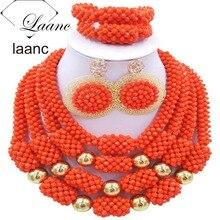 Африканский костюм Дубай Свадебные комплекты ювелирных изделий коралловый цвет кристалл laanc AL032