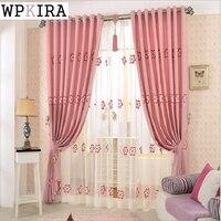 Flowers Emboridered Pink Window Voile Tulle Sheer Curtains Living Room Bedroom Grommet Top Hook Rod Pocket