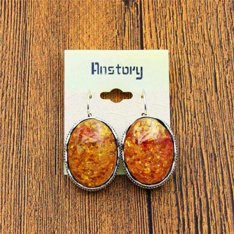Big Oval Flower Resin Earrings Vintage Antique Silver Plated Cuff Fashion Earrings