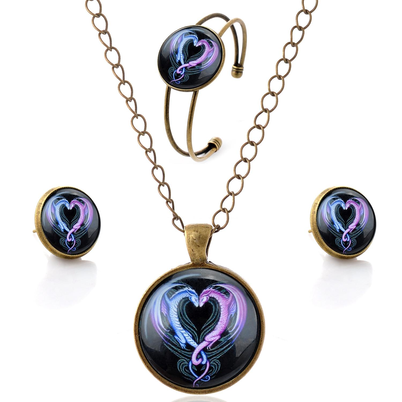 d5f2f0f836d94 Lureme الوقت جوهرة سلسلة أسلوب بسيط خمر ssangyong القلب شكل قلادة قلادة  أقراط سوار مجموعات المجوهرات