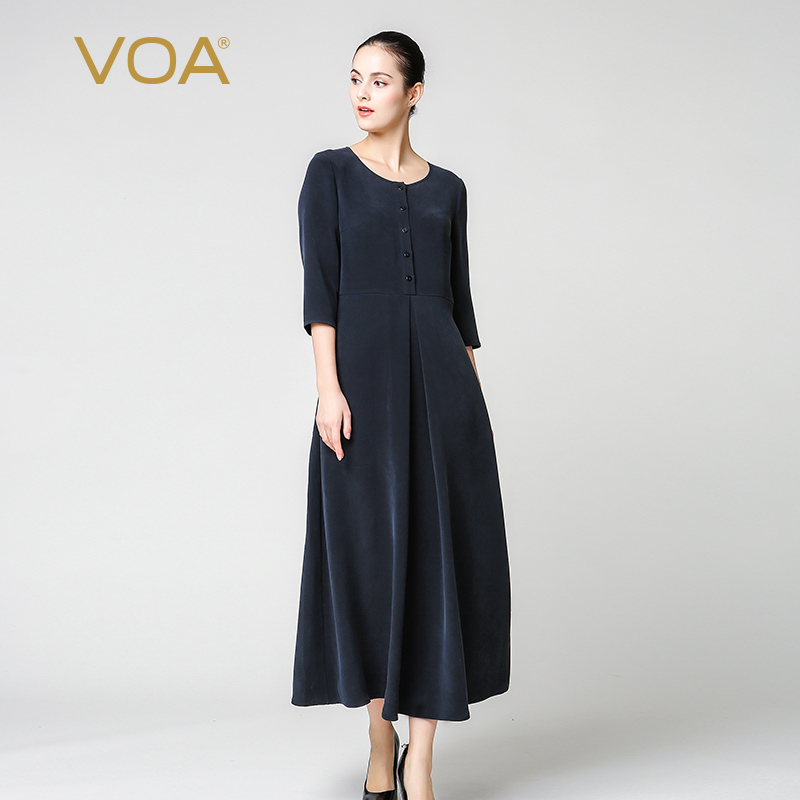 VOA Heavy Silk Plus Size Navy Blue Slim Tunic Dress Simple Solid Vintage Elegant Brief Women A Line Maxi Long Dress Autumn A7213