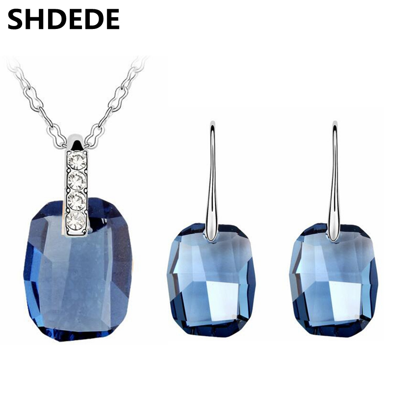 SHDEDE Jewelry Sets For Women Necklaces Blue Square Geometric Crystal from Swarovski Female Long Dangle Earrings 5322 shdede 10