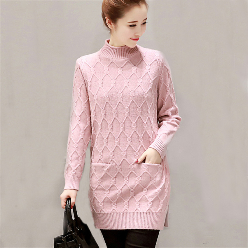 2017 New Turtleneck Sweater Dress Autumn Winter Women Loose Split Knitted Dresses Ladies Pockets Pullovers Vestidos Robes AB667 women turtleneck front pocket sweater dress