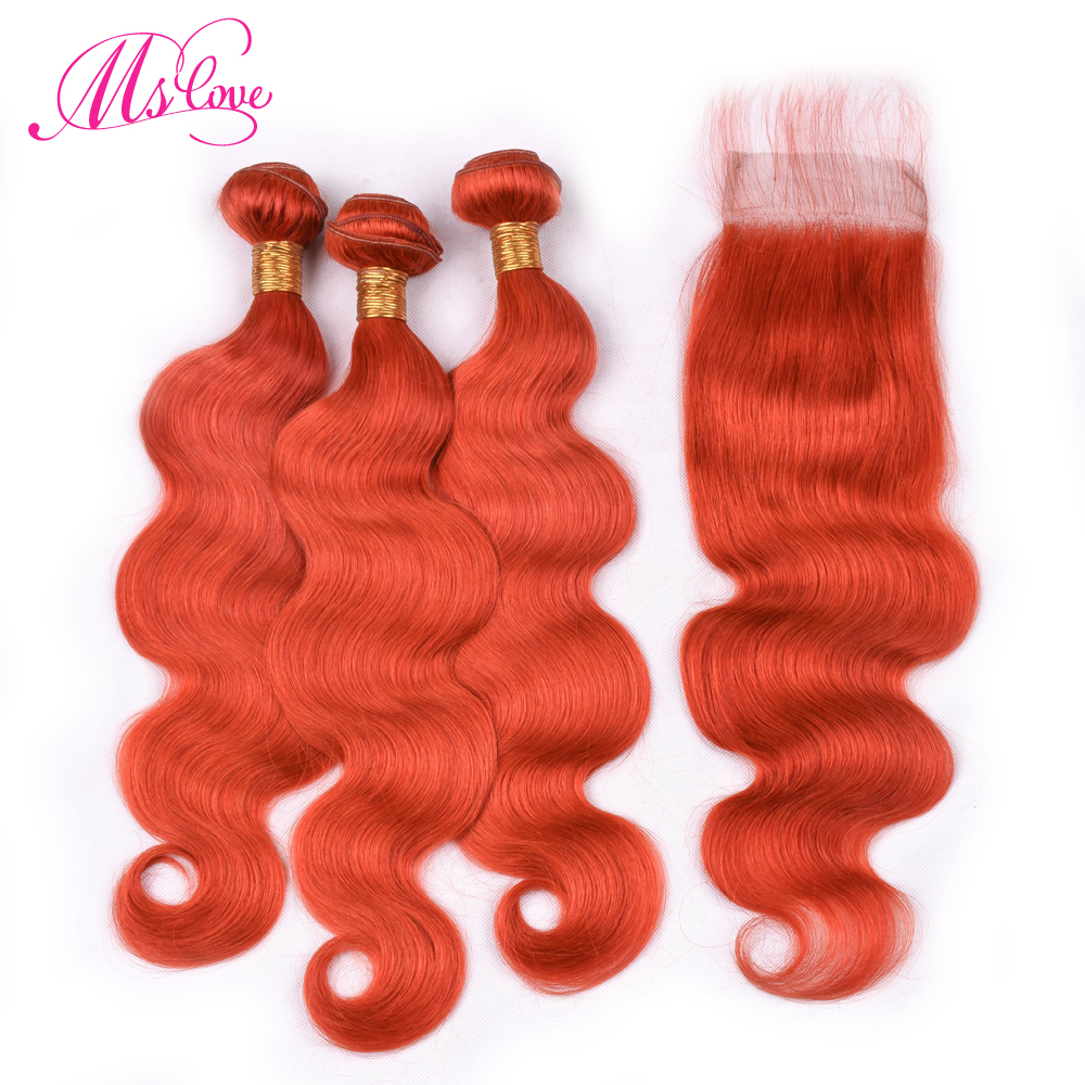 Ms Love Orange Body Wave Hair Bundles With Lace Closure Brazilian Hair With Closure Remy Human Hair Bundles