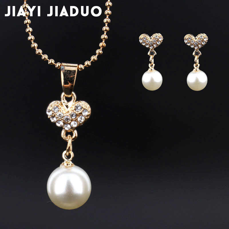 jiayijiaduo African women jewelry set imitation pearl gold-color Pendant Necklace Earrings party clothing accessories wholesale