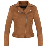 2018 Autumn And Winter New Lapels Diagonal Zipper Jacket Leather Women Short Women's Suede Pu Jacket Leather Campera Mujer
