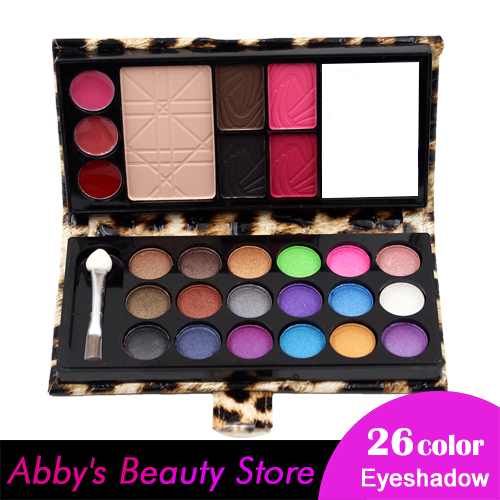 26 Color Wet Shine Cosmetics Palette Set Eye shadow brush Powder Cake Lip Gloss Blush Eyeshadow Make Up Kit Combo Makeup set